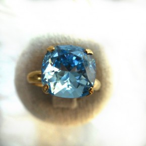 Bague jonc or aquamarine